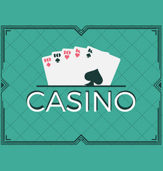 casino poker game full house art deco frame vector image