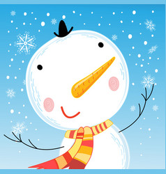 cheerful bright big portrait of a snowman vector image