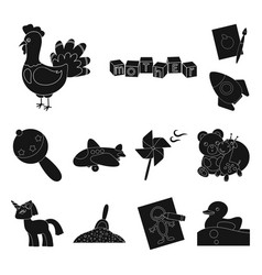 Children s toy black icons in set collection for vector