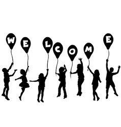 Children silhouettes holding balloons with letters vector image