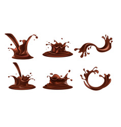 chocolate drink splashes and swirling spills set vector image