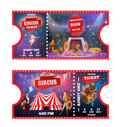 circus tickets with animals acrobats and magician vector image