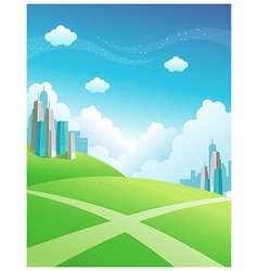 Cityscape green mountain vector