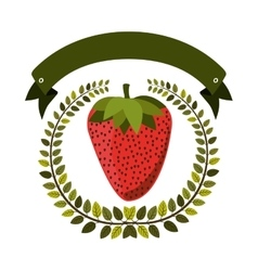 Colorful olive crown and label with strawberry vector