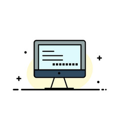 Computer monitor text education business flat vector