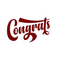 Congrats calligraphic text vector