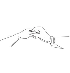 continuous one line drawing groom putting ring vector image