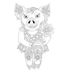contour drawing pig with flower for coloring vector image