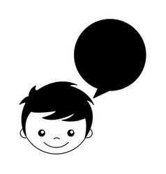 Cute boy with speech bubble character vector
