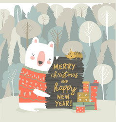 Cute cartoon bear celebrating christmas in winter vector