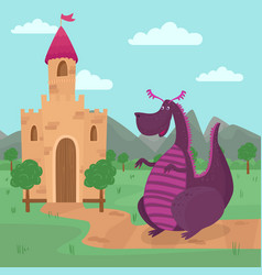 Cute dragon standing in front of a castle fairy vector