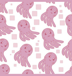 cute happy jellyfish cartoon character seamless vector image