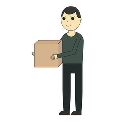 Delivery man cartoon character and delivery vector