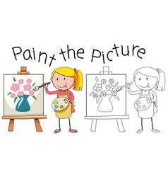 Doodle artist painting picture vector