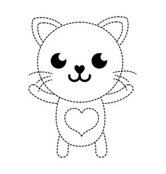 Dotted shape smile cat cute feline animal vector