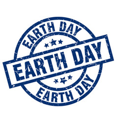 earth day blue round grunge stamp vector image