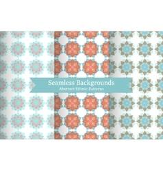 Ethnic oriental geometric seamless patterns vector image