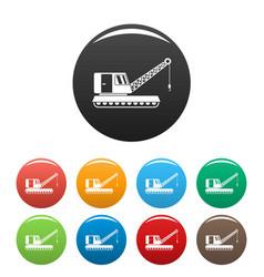 excavator crane icons set color vector image