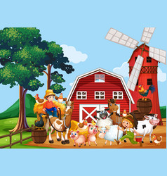 farm in nature scene with windmill and barn and vector image