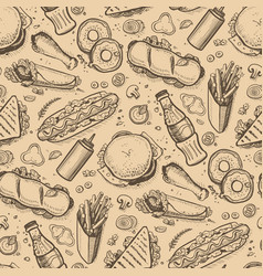 Fast food hand drawn vintage backdrop vector