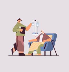 Female nurse or volunteer checking dripper vector