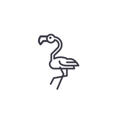 flamingo head line icon sign vector image