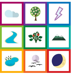 Flat icon ecology set of peak tributary vector