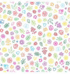 floral icon seamless pattern flowers and leaves vector image