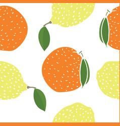 food lemons and oranges seamless pattern vector image