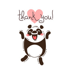 Funny panda says thank you vector