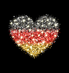 germany flag sparkling heart badge vector image