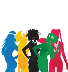 Girls are different sides of the world vector