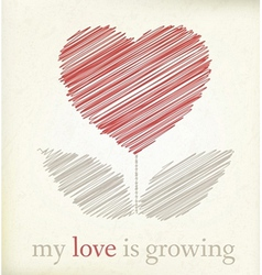 Growing heart on vintage paper vector image