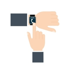 hand touchscreen smart watch wearable technology vector image