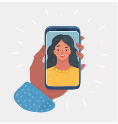 hand with phone with face vector image