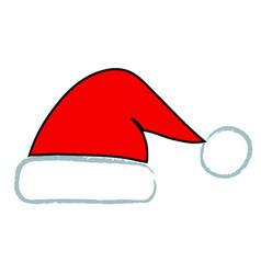 handdraw santa red hat icon stock vector image