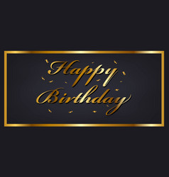 happy birthday banner template with golden vector image