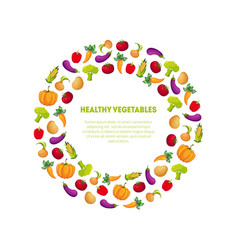 healthy vegetables banner template round frame vector image