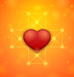 Heart on an orange background vector