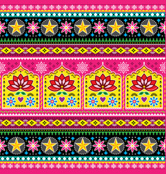 Indian truck art floral seamless folk art pattern vector