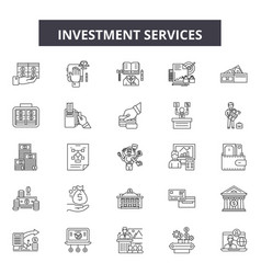 investment services line icons signs set vector image