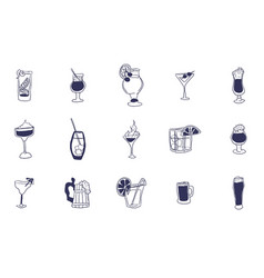 large selection of alcoholic drinks and shots vector image