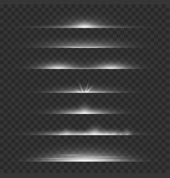 Light dividers line flare glowing borders white vector