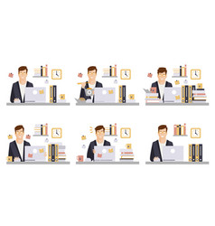 male business character in workplace set office vector image