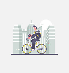 man riding bike on cityscape background vector image