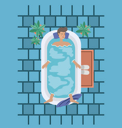 Man taking a bath tub vector