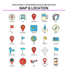 map and location flat line icon set - business vector image
