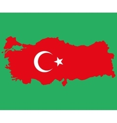 map turkey turkish flag painted with color vector image