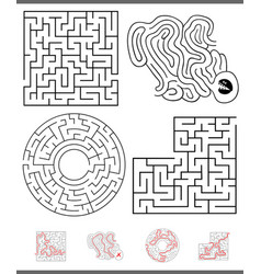 maze leisure game graphics set with answers vector image