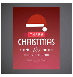 merry christmas card with red background with vector image